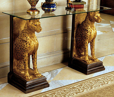 """Egyptian Pharaoh Cheetahs Sculpture Furniture Console with Glass top 55"""""""