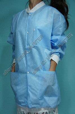 20 Hip Length Blue SMS Three-Layer Disposable Lab Coats Gowns Dental Medical