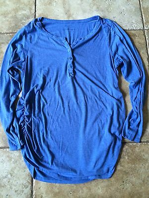 Motherhood Maternity XL Extra Large Blue Shirt Top Long Sleeve Ruched Sides