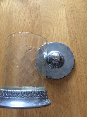 Unusual Cut Glass Jar With Metal Lid And Base Glass Between Look