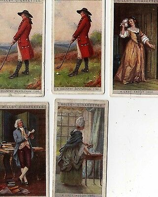 English Period Costumes 1929 - Wills cigarette cards