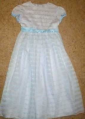 Vintage girls lace dress in white and pale blue. Possibly 1950's.