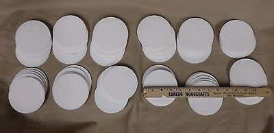 """Lot of ~7 Pounds of Teflon Discs 3 7/8"""" Diameter 1/8"""" Thickness 59 Pieces"""