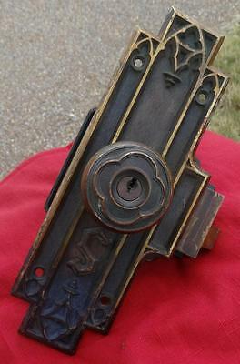 ANTIQUE GORBIN 1890s ENTRY DOOR SET BRONZE DOORKNOB DOOR PLATE