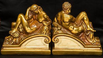 Antique Bronze Clad Bookends~Michelangelo's Night & Day~Armor~Galvano~Pompeian