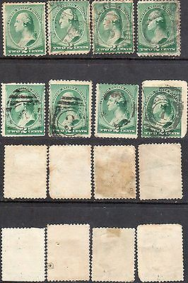 USA -USED Stamps- 8 x 2 Cents (Green) SG Type 44.