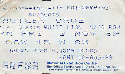 MOTLEY CRUE USEDTICKET FROM BIRMINGHAM 3 NOVEMBER1989 With Skid Row & White Lion