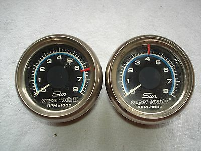 Two Used Sun Super Tach 2 Head Units Only 8000RPM For Parts
