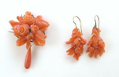 VTG Natural Salmon Hand Carved Coral Dangle Drop Earrings Brooch Set 14K Gold