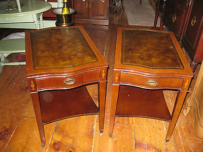 Vintage Pair of Mahogany Leather Top End Table Side Tables