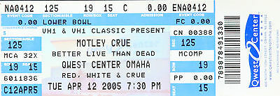 MOTLEY CRUE UNUSED TICKET FROM QWEST CENTER,OMAHA,NE, USA 12 APRIL 2005 Wasp Dio