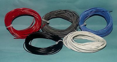 Layout Wire 50 Meters 1.4Amp 7/.02 Wire 10m Each Red, Black,Grey,Blue & White