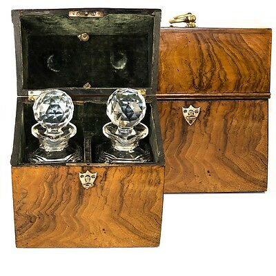 Antique French Tantalus, Burled Chest w/ 2 Fine Baccarat Decanters, c. 1770-1820