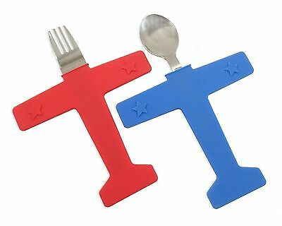 Kids' Airplane Fork & Spoon Set Stainless Steel and Silicone
