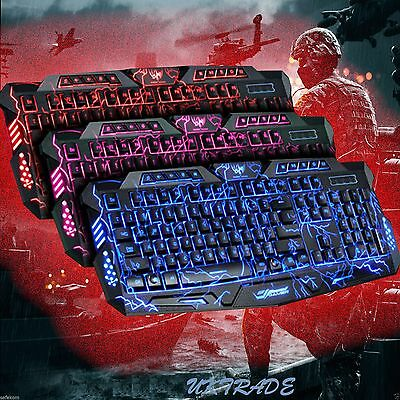 USB Wired Gaming Keyboard Backlit Backlight Illuminated Multimedia For PC Laptop