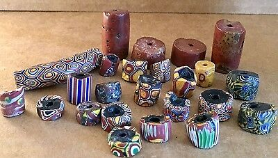 Collection of 24 RARE Antique African Trade Beads Venetian Millefiori Himalayan