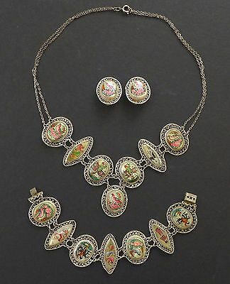 Antique Chinese? Hand Painted MOP Filigree Silver Necklace Bracelet Earring Set