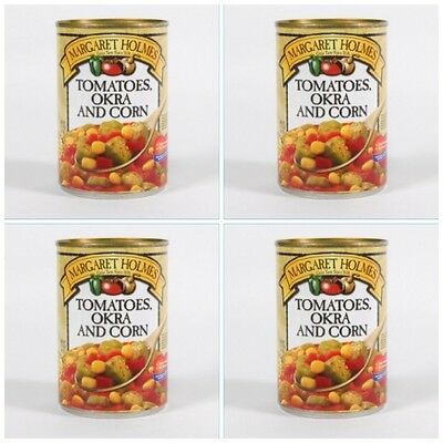 4 CANS MARGARET HOLMES TOMATOES OKRA & CORN  free cajun recipe great with ham!