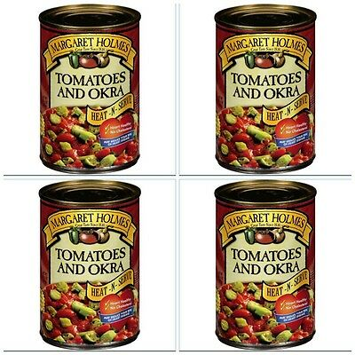 4 CANS MARGARET HOLMES TOMATOES & OKRA free cajun recipe great with ham!