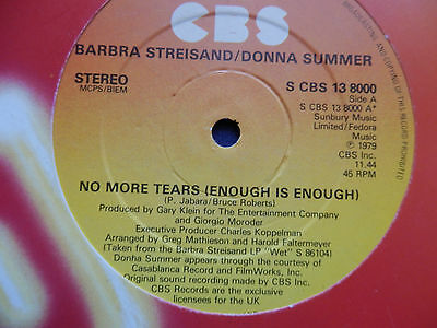 """Barbra Streisand & Donna Summer No more tears (enough is enough) 12"""""""