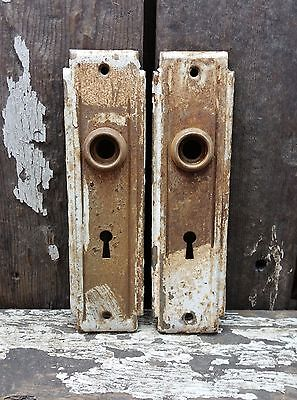 2 VTG Old Shabby Rustic Deco Metal Keyhole Door Knob Backplate Cover Hardware 7""