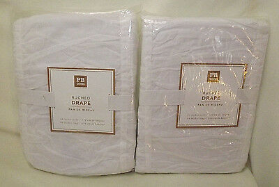 """NWT S/2 Pottery Barn Teen WHITE Ruched Drapes Panels 44 x 84"""""""