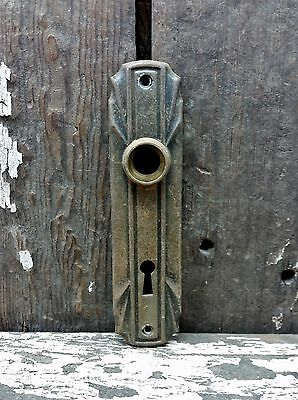 VTG Old SMALL Shabby Rustic Deco Metal Keyhole Door Knob Backplate Cover Jewelry