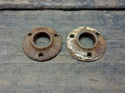 2 VTG Old Rustic SMALL Shabby Metal Rosette Door Knob Backplate Cover Hardware