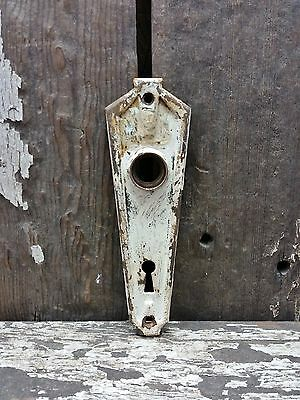 VTG Old SMALL Shabby Rustic Unique Deco Metal Keyhole Door Knob Backplate **