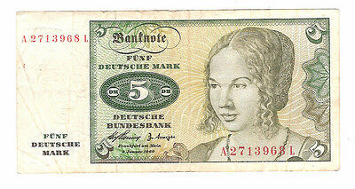 Banknote of germany 5 marks dated 1960
