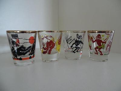 4 Vintage 1950s American Cartoon Shot Glasses - with drinking slogans