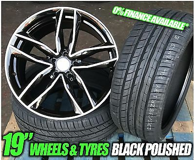 """19"""" Rs6 Style Black/polished Alloy Wheels + Tyres 5X112 Audi A4"""