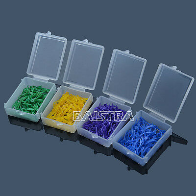 10sets Dental Plastic Poly-wedges Round Stern With Hole 4 Size & Color