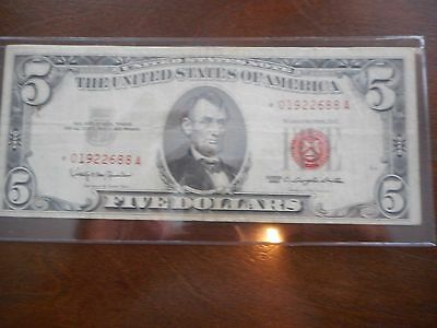 1963 Series $5.00 US Note, STAR Note,  Red Seal, VF