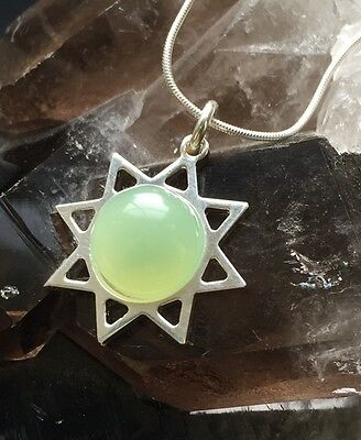 New Jade & Sterling Silver Necklace. Healing Crystal Gemstones. Sun Pendant Gift