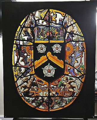 Fabulous Antique Old Stained Painted Glass Window W Coat Of Arms Dated 1621