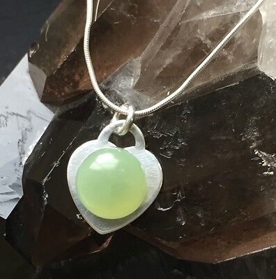 New Jade & Sterling Silver Necklace. Healing Crystal Gemstones. Heart Pendant