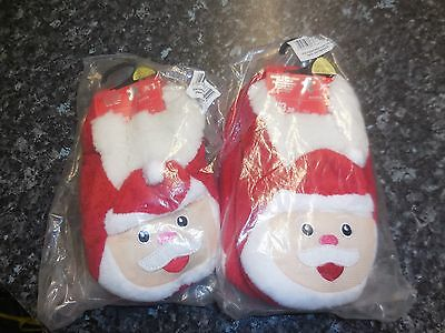 Childs Slipper Socks with Santa On / Size 12.5 - 3.5 / 2 Pairs /
