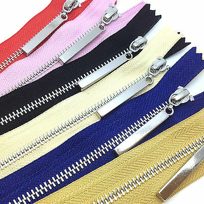 Metal Polished Silver Teeth Zips No 3 Weight Zip - Closed End - 8 Zip Colours