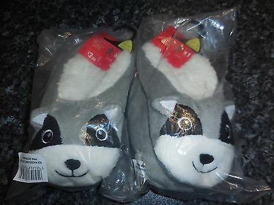 Childs Slipper Socks with Racoons / Size 12.5 - 3.5 / 2 Pairs / Christmas Gift