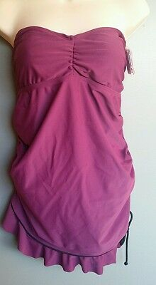 LIZ LANGE Maternity Swimsuit Tankini Top only Size Small Sm S NWOT Straps Purple