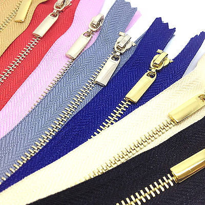 Metal Polished Gold Teeth Zips No 3 Weight Zip -Closed End - 15 Zip Colours,