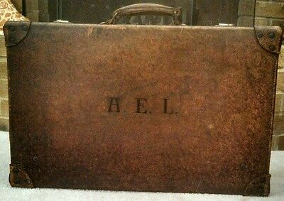 Antique Monogrammed A.E. L. Brown Leather Suitcase with Brass Hinges