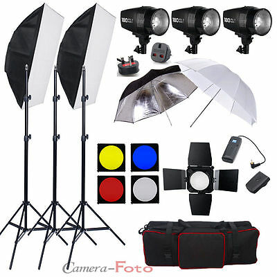 Kit Iluminación 3 Flash 540W Estroboscopio Estudio kit foto photography 3*180W E