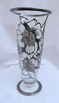 Vintage Tall Silver Overlay Glass Vase Flowers