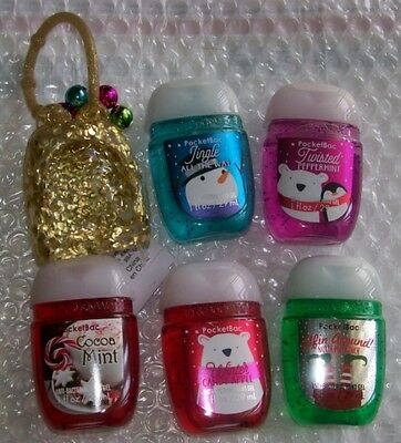 Bath & Body Works Various Christmas Pocketbacs & Glitter Holder Set With Bells!