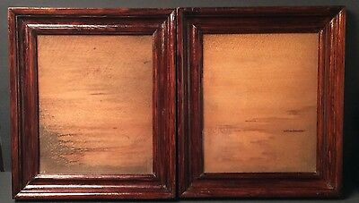"""Pair of Victorian 1880 Shadow Box Wood Frames With Antique Glass 12.5"""" x 14.5"""""""
