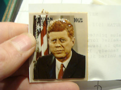 famous person stamp: 1972 Bhutan BAS RELIEF---- JOHN F KENNEDY