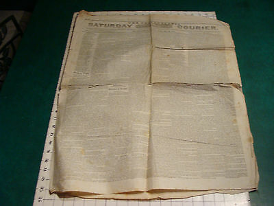 vintage Original Newspaper: SATURDAY COURIER Philadelphia FEB 20, 1841
