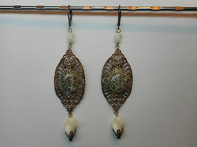 OLD Czech Filigree Earrings with wound manually pressed beads!!